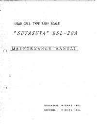 Instrukcja serwisowa Misaki SUYASUYA BSL-20A