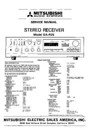 Руководство по техническому обслуживанию Mitsubishi DA-R25