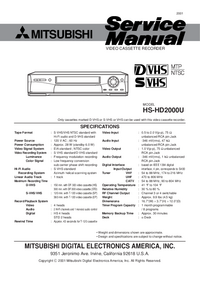 Service Manual Mitsubishi HS-HD2000U
