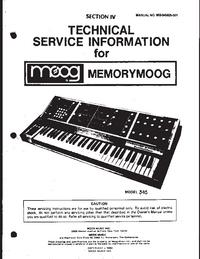 Service Manual Moog Memorymoog 345