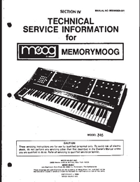 Manual de serviço Moog Memorymoog 345