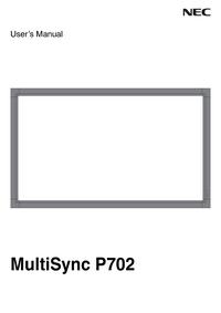 Руководство пользователя NEC MultiSyncP702