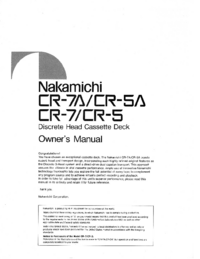 User Manual Nakamichi CR-5A