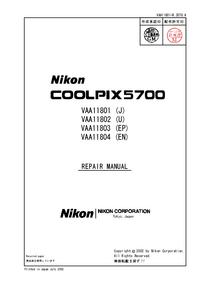 Service Manual Nikon Coolpix 5700
