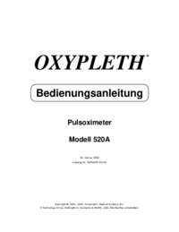 User Manual Novametrix OXYPLETH® Modell 520A