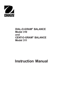 Manual de serviço Ohaus DIAL-O-GRAM® BALANCE 310