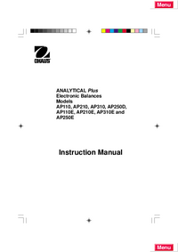 Manual de servicio Ohaus ANALYTICAL Plus AP210