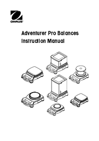 Service and User Manual Ohaus Adventurer Pro