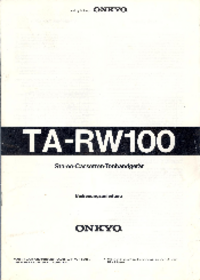 Руководство по техническому обслуживанию Onkyo TA-RW100