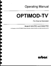 Service and User Manual Orban OPTIMOD-TV 8182A/PRO