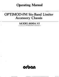 Service and User Manual Orban OPTIMOD-FM 8100A/XT