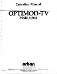 Service and User Manual Orban OPTIMOD-TV 8180A