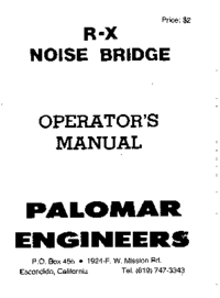 User Manual Palomar R-X NOISE BRIDGE