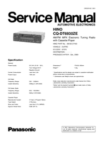 Manual de servicio Panasonic CQ-DT6930ZE