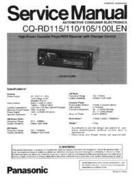 Service Manual Panasonic CQ-RD115