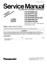 Service Manual Supplement Panasonic CQ-DFX888LEN