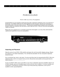 User Manual Parasound P/LD-1100