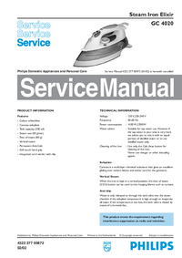 Service Manual Philips Elixir GC 4020