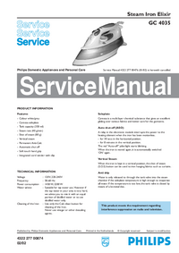Manuale di servizio Philips Elixir GC 4035