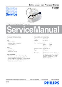 Service Manual Philips Provapor Elance GC6057