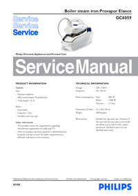 Руководство по техническому обслуживанию Philips Provapor Elance GC6059