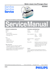 Service Manual Philips Provapor Azur GC6063
