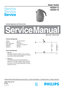 Manual de servicio Philips HD2001/D