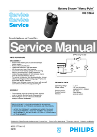 Manual de servicio Philips Marco Polo HQ 322/A