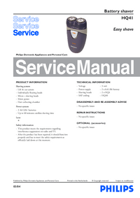 Service Manual Philips Easy shave HQ41