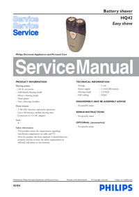 Service Manual Philips Easy shave HQ42