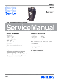 Service Manual Philips Easy shave HQ46