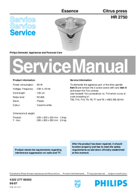 Servicehandboek Philips Essence HR 2750