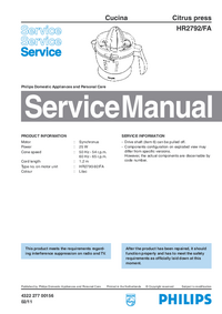 Service Manual Philips Cucina HR2792/FA