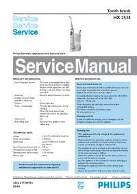 manuel de réparation Philips HX 2538