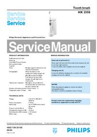 Manual de servicio Philips HX 2550