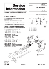 Service Manual Supplement Philips HR 6025/F