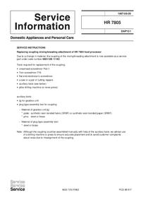 Supplément manuel de réparation Philips HR 7805