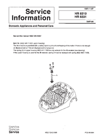 Service Manual Supplement Philips HR 8331