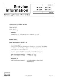 Manuale di servizio Supplemento Philips HI 540