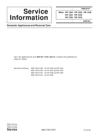 Service Manual Supplement Philips HR 1535