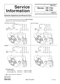 Service Manual Supplement Philips HR 1730
