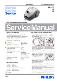 Руководство по техническому обслуживанию Philips Universe FC9022/A