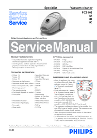 Manual de servicio Philips Specialist FC9103/B