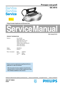 Manual de servicio Philips Provapor new profi GC 6016