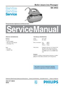 Instrukcja serwisowa Philips Provapor GC 6022