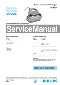 Manual de servicio Philips Provapor GC 6024