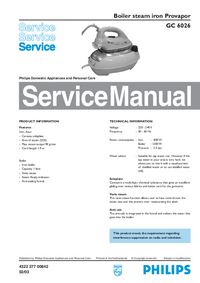 Service Manual Philips Provapor GC 6026