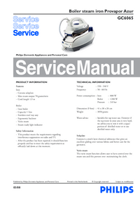 Manual de servicio Philips Provapor Azur GC6065