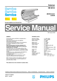 Manual de servicio Philips Sunstudio Combi HB 581/A