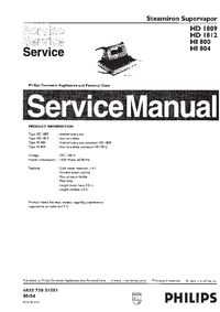 Service Manual Philips Supervapor HI800